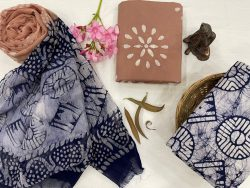 Copper And blue cotton suits with chiffon dupatta