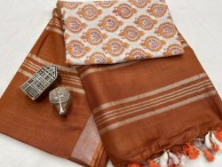 Bronze  saree with printed cotton blouse