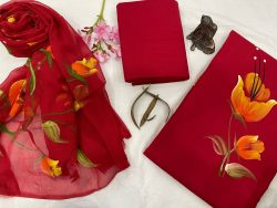 Red hand painted cotton suit with chiffon dupatta