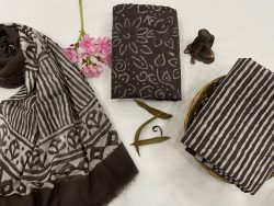 taupe Gray  cotton suit with chiffon dupatta