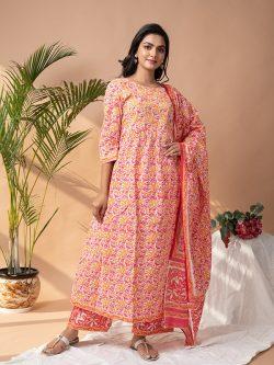 Floral print Stitched Cotton suit with cotton dupatta