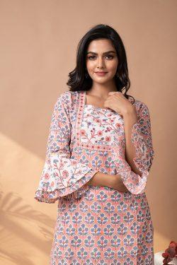 pink Stiched Cotton suit with cotton dupatta