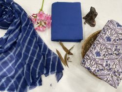 Blue and white material with chiffon dupatta