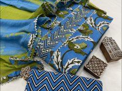 Blue Gota embroidery suit with kota doria dupatta