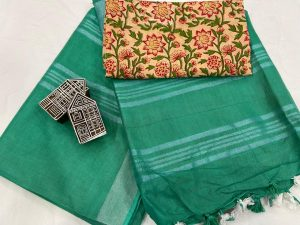 Tropical Green saree with printed cotton blouse