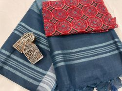 Blue linen saree with separate printed blouse
