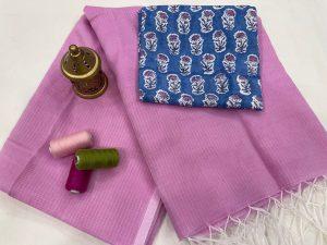 Violet kota doria saree with blouse