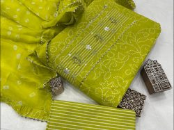 Lime embroidery suits with chiffon dupatta
