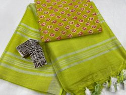 Lime linen saree with printed cotton blouse