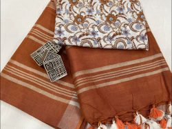 Brown linen saree with printed cotton blouse