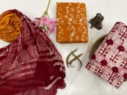Amber and red Brown material with chiffon dupatta