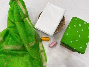 Classic Green cotton Salwar suit with kota silk dupatta