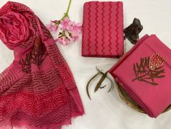 Brick red printed cotton suits with chiffon dupatta
