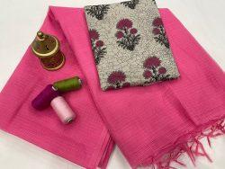 pink Plain kota doria saree with blouse