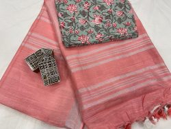 Light Salmon Pink linen saree with printed cotton blouse