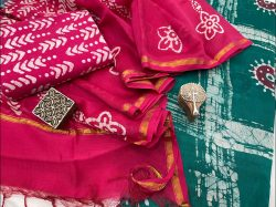 Rose and Green chanderi Salwar suit with price