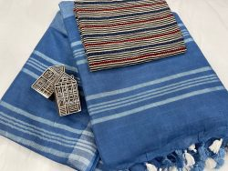Blue saree with printed cotton blouse