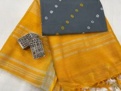 Amber Plain linen saree with separate printed blouse
