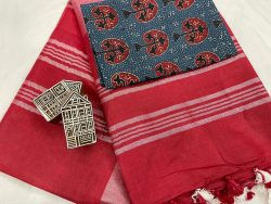 Red linen saree with printed cotton blouse
