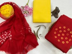 Red and yellow cotton salwar suit with chiffon dupatta
