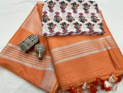 Salmon linen saree with separate printed blouse