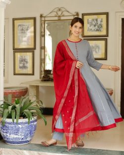 slate gray and red Stitched Cotton with chanderi cotton chicken dupatta