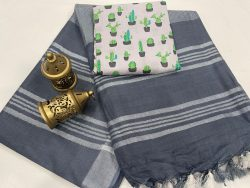 Slate gray linen saree with printed cotton blouse