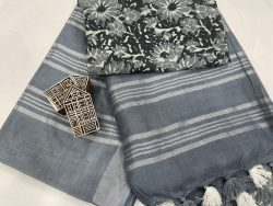 Slate gray linen saree with separate printed blouse