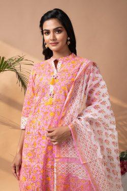 pink Stiched Cotton suit with kota doria dupatta