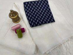 White Plain kota doria saree with blouse