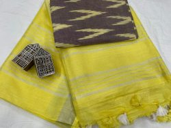Yellow linen saree with printed cotton blouse